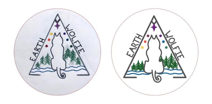 Earth Wolfie logo design concept